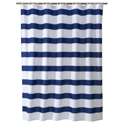 Rugby Stripe Shower Curtain White/Blue Cool - Room Essentials .