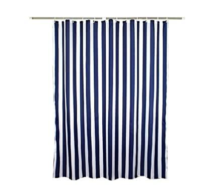 Amazon.com: Zigzag Park Navy Style Blue White Stripe Fabric Shower .