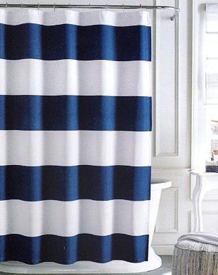 Tommy Hilfiger Cabana Stripe Shower Curtain White & Navy Blue .