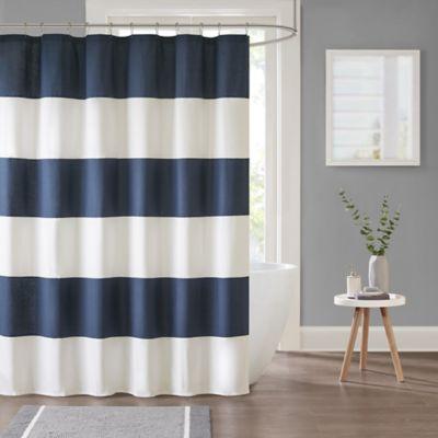 Parker Stripe Shower Curtain in Navy | Bed Bath & Beyo