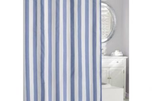 Lauren Stripe 71 in. Blue and White Fabric Shower Curtain 205100 .
