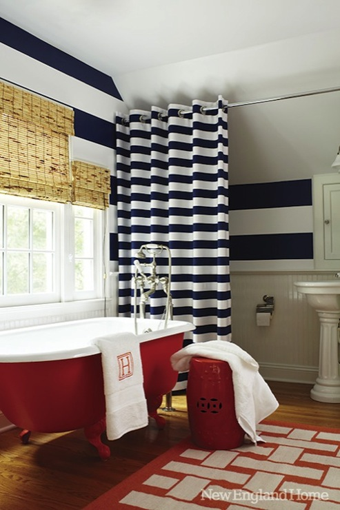 Horizontal Striped Shower Curtain - Transitional - bathroom - New .