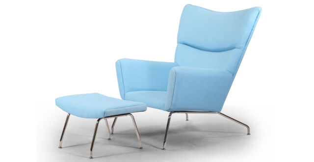 Blue Leather Chair And Ottoma