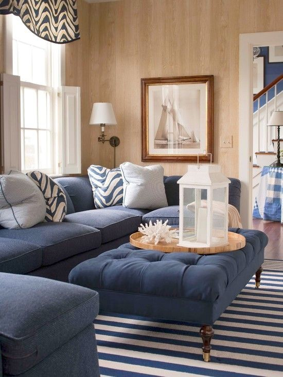 Navy Blue | Traditional family rooms, Coastal living rooms, Interi
