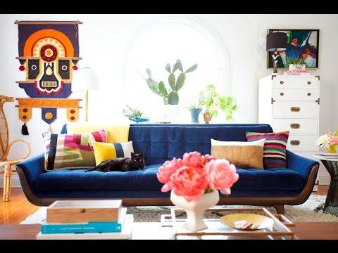 living room ideas with navy blue sofa - YouTu