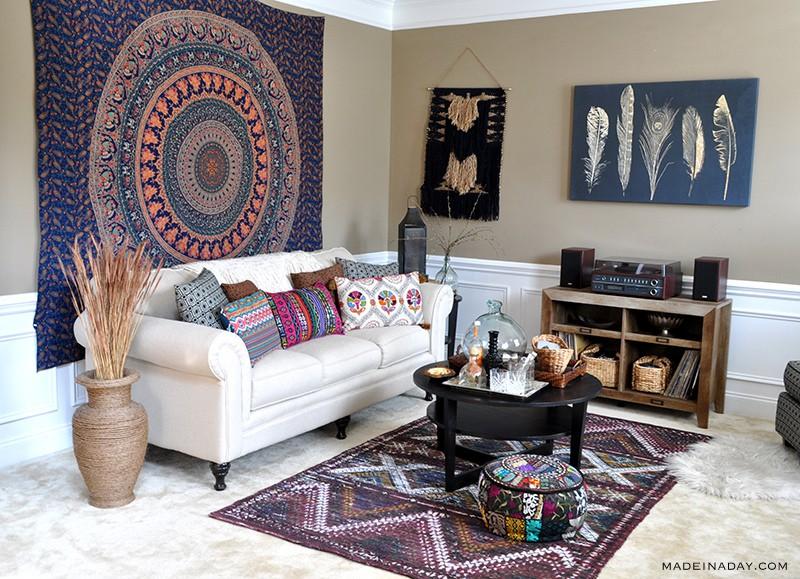 Boho Living Room Makeover: Pop Of Color With World Market • Made .