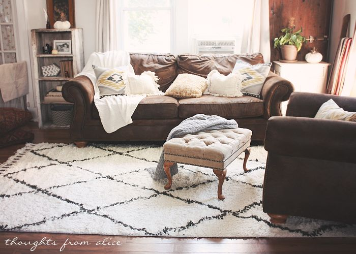 Boho Chic Living Room Makeover: Finding the Perfect Rug | Brown .