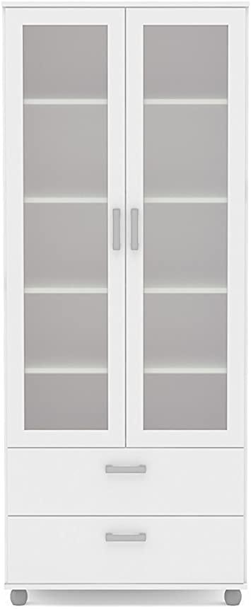 Amazon.com: Polifurniture Livramento Bookcase, 2 Glass Doors & 2 .