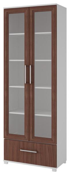 Modern Glass Door Bookshelf, 5-Shelf, 1 Bottom Drawer, White Brown .
