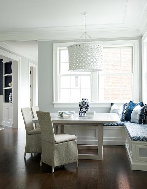 Two Tone Breakfast Nook Table with Blue Bench Cushions .