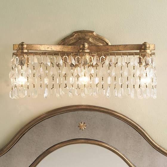 champagne bronze light fixture | Crystal bathroom lighting .