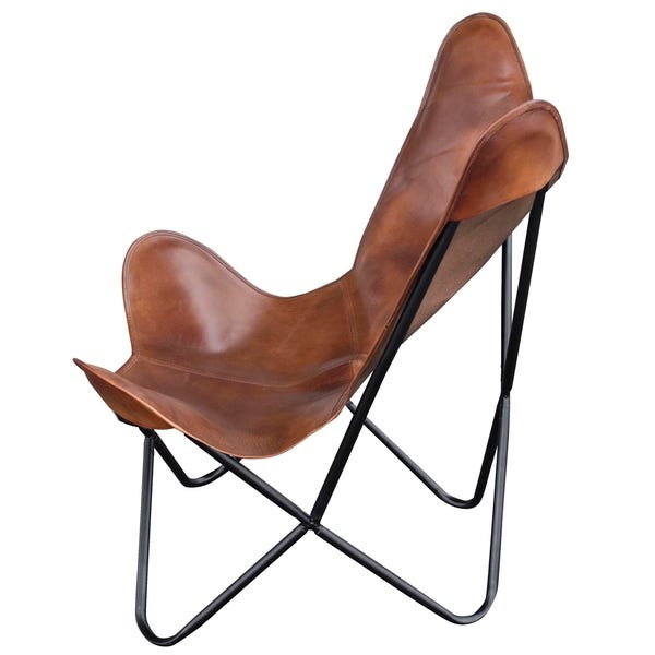 "Shop Amerihome Leather Butterfly Chair in Natural Tan - 7'9"" x 10 ."