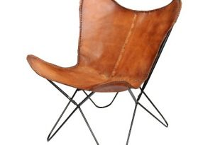 Elite Top Grain Leather Butterfly Chair Brown - A&B Home : Targ