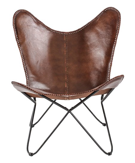 Madeleine Home Brown Montreux Leather Butterfly Chair | Zuli