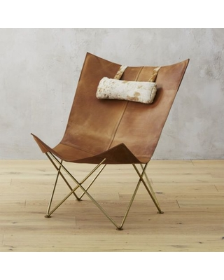 Amazing Deals on Brown Leather Butterfly Chair with Hide Headrest .