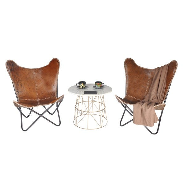 Shop Carbon Loft Larkin Rustic Brown Leather Butterfly Chair - On .