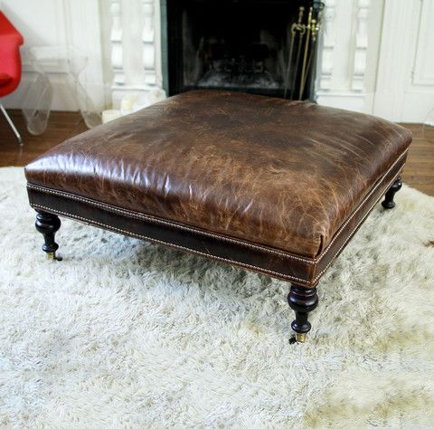 Pin by Christine Gallant on LIVING ROOM | Leather ottoman coffee .