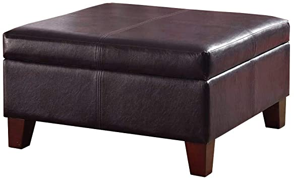 Amazon.com: HomePop Faux Leather Square Storage Ottoman Coffee .