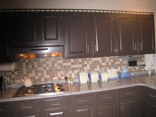 Chocolate Brown Painted Kitchen Cabinet | Painted kitchen cabinets .