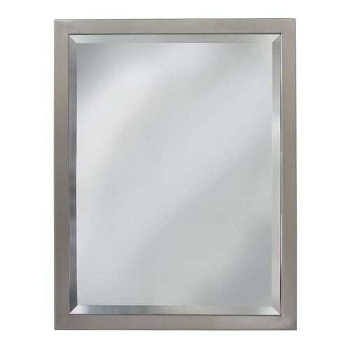 Allen + roth 24-in Brush Nickel Rectangular Bathroom Mirror at .