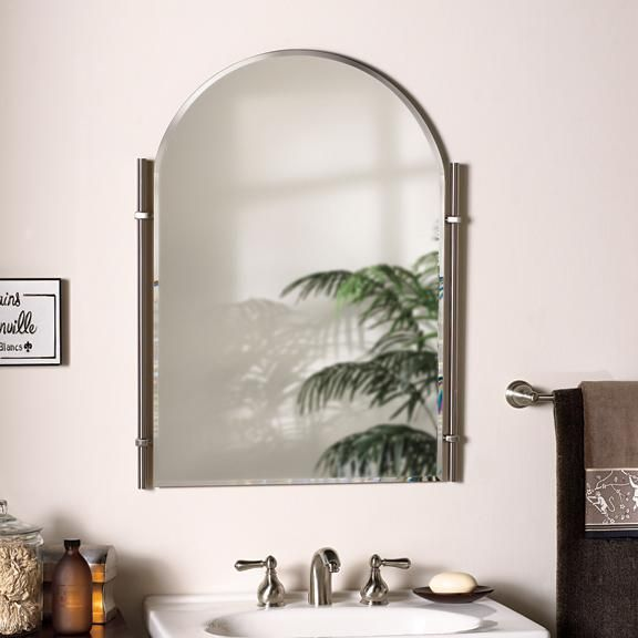 Traditional Brushed Nickel Chateau - Bathroom Mirror | Large .