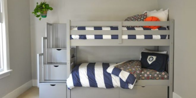 One Room Challenge: The Gray Bunk Beds Are In   Bunk beds for boys .