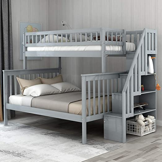 Amazon.com: Twin-Over-Full Bunk Bed for Kids with Storage and .