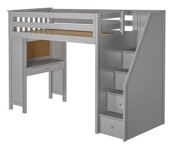 Rylan Gray Twin Loft Bed with Stairs and De