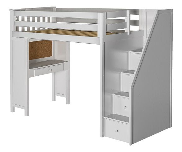 Anaya White Twin Loft Bed with Stairs and De