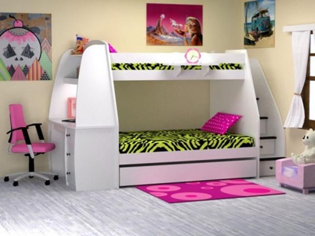 Bedroom:Cool Girls Bunk Bed With Stairs And Desk Bunk Bed With .