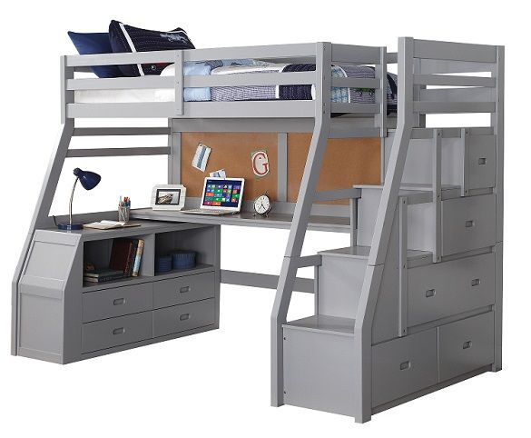 Jasper Gray Twin Loft Bed with Stairs and De