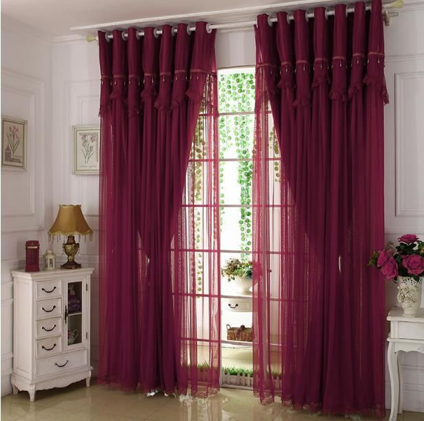 Wine Color Maroon Curtains Lace Sheer Blackout in 2020 | Maroon .