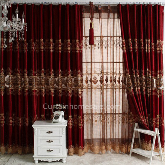 Burgundy Fancy Embroidered Window Curtains for Bedroom or Living Ro