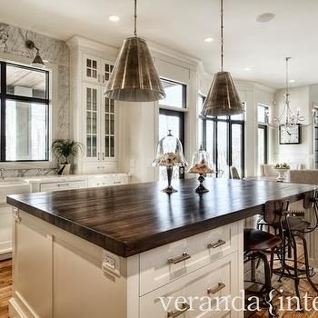 Dark Butcher Block Island Countertop with white cabinets (to .