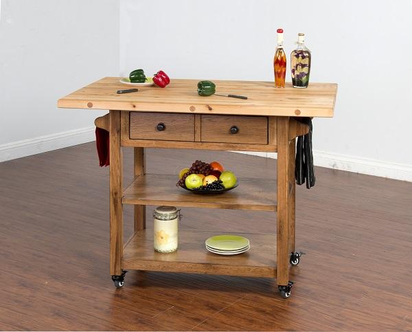 Sedona Rustic Oak Wood Open Storage Butcher Block Table - Shop for .