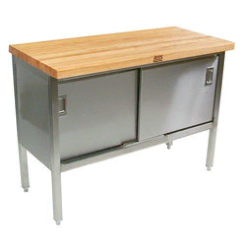 "John Boos ETNS08 - 72"" X 30"" Butcher Block Storage Cabinet Work Tab"
