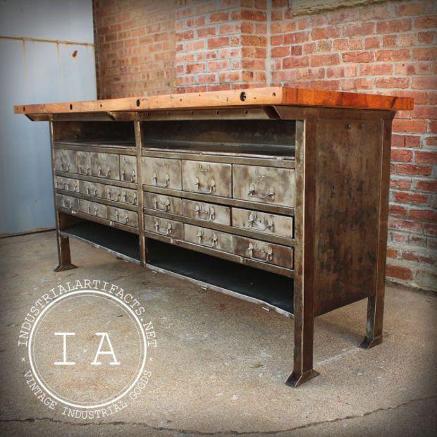 Vintage Industrial Butcher Block Steel Work Table Bench Tool .