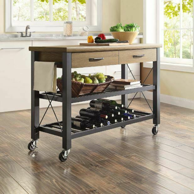 Kitchen Cart Island Table Butcher Block TV Stand Mobile Storage .