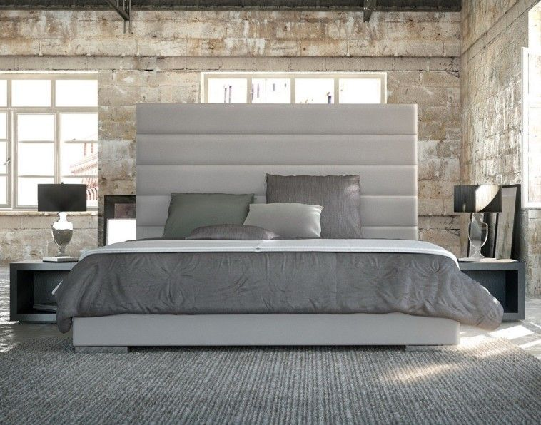 Contemporary Bed Frame With Tall White Upholstered Headboard With .