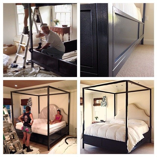 Custom oversized king canopy bed with solid wood platform, custom .
