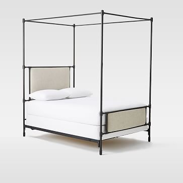 Rhodes Upholstered Metal Canopy Bed | Metal canopy bed, Modern .