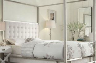 Queen Size Metal Canopy Bed with White from Hearts Attic | Qui