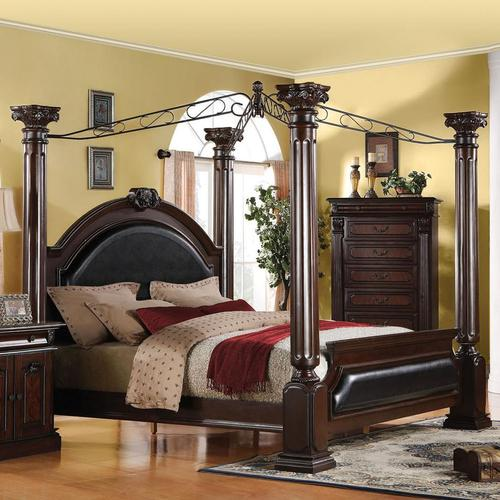 Acme Furniture Roman Empire King Canopy Bed with Upholstered Headboa