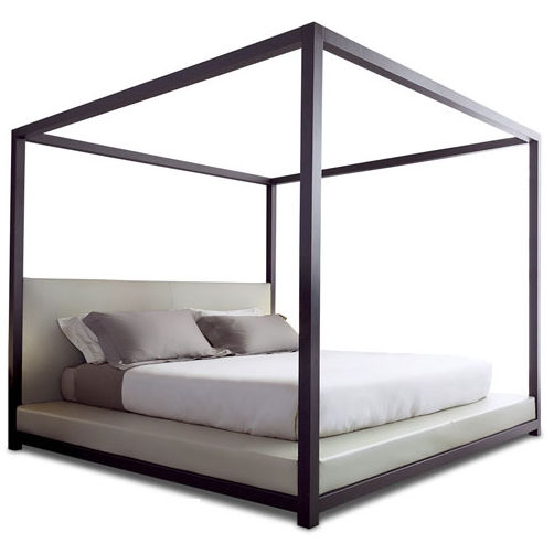 Canopy bed / double / contemporary / with upholstered headboard .