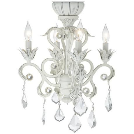 4-Light Rubbed White Chandelier Ceiling Fan Light Kit (With images .