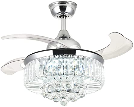 Moooni Dimmable Fandelier Crystal Ceiling Fans with Lights and .