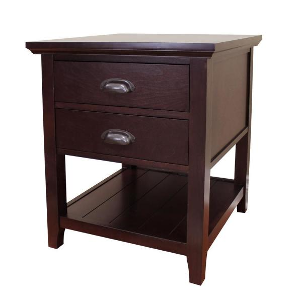 DonnieAnn Lindendale 2-Drawer Espresso End Table 705070 - The Home .