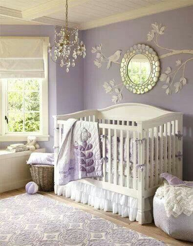 Lavender room with chandelier | Baby girl bedroom, Baby girl room .