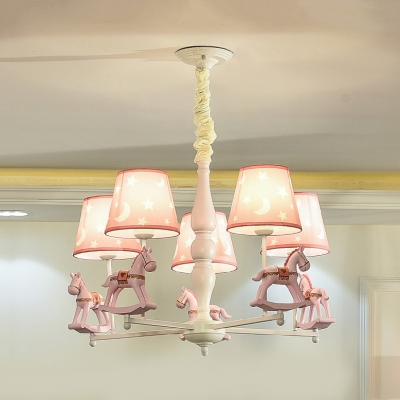 Resin Horse Ceiling Pendant with Tapered Shade Baby Room 3/5 Heads .