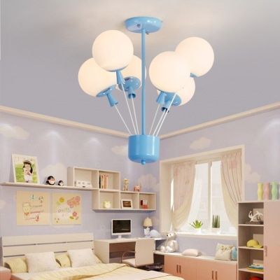 6 Lights Balloon Chandelier Baby Room Nursing Room Frosted Glass .